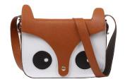 eFuture(TM) Brown Retro Cute Fox Owl PU Leather Messenger Bag/Crossbody Satchel/Animal Handbag +Keyring