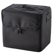 Black Cosmetic Portable Soft Makeup Train Case Made with Oxford Fabric