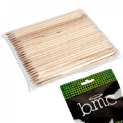 BMC Pointed and Angled Double Sided Orange Wood Stick Nail Cuticle Pusher-100pc