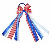 ColorBeBe - Patriotic Hair Bow Ribbon Streamers Ponytail Holder