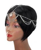 Dangling Single Teardrop Rhinestone Draping Chandelier Head Chain Jewellery in Silver-Tone