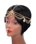 Dangling Multiple Teardrop Rhinestone Head Chain Jewellery in Gold-Tone