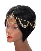 Dangling Single Teardrop Rhinestone Draping Chandelier Head Chain Jewellery in Gold-Tone