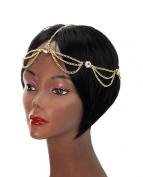 Rhinestone Charm 2 Draping Strand Head Chain Jewellery in Gold-Tone