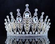 Janefashions Elegant Floral Clear Crystal Rhinestone Tiara Crown Bridal Prom Pageant T11885