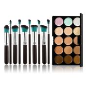 Chinatera 15 Colours Contour Face Cream Makeup Concealer Palette with 10pcs Makeup Brushes
