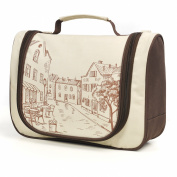 LYCEEM Golbal Series Travel Hanging Toiletry Bag Shaving Dopp Kit Cosmetic Makeup Bag Europe Town Beige