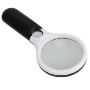 Skycoolwin 3 LED Light 45X Handheld Magnifier Reading Magnifying Glass Lens Jewellery Loupe