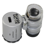 Skycoolwin 60x Handheld Pocket Microscope Loupe Jeweller Magnifier With LED Light Glass