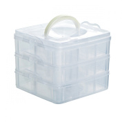 3 Layers 18 Compartments Plastic Adjustable Box Storage Case Holder