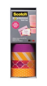 3M Scotch Expressions Washi Tape; Purple, Diagonal Stripe, Quatrefoil Sunset, Orange Swiss Dot