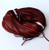 CHENGYIDA Genuine Flat Leather Lace Red-brown 3x1mm 10 Yard (9.2 Metters) Section