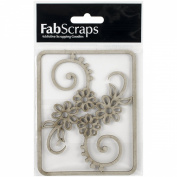 Die-Cut Grey Chipboard Embellishments-Flower Filigree, 11cm x 8.9cm