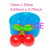 25kg Cherry with Leaves Flexible Silicone Mould Mould Cupcake Topper Cake Decorating Fondant 21mm - Fimo Polymer Clay Mould
