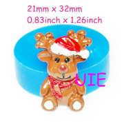 089LBJ Christmas Deer Silicone Mould Christmas Cookie Mould Cake Fondant Cupcake Decorating 32mm - Marshmallow Polymer Clay Moulds