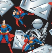 Superman & Logo on Black Fabric Fleece - Officially Licenced (Great for Quilting, Throws, Sewing, Craft Projects, Wall Hangings, and More) 1 Yard x 150cm