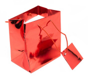 Novel Box® Red Metallic Glossy Euro Tote Paper Gift Bag Bundle (20 Count) + Custom NB Pouch