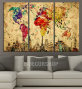 Large Wall Art Canvas World Map - Yellow Predominantly Colourful World Map with Wonders of the World At Background 3 Panel Large Wall Art - 40x80 cm Each Panel- 120x80 cm Total