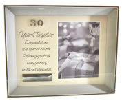 Juliana Brushed Silver Plated Photo Frame Verse & Plaque - 30 Years Together