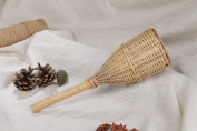 Unusual Large Light Handmade Rattle Toy Woven of Wicker with Handle for Babies