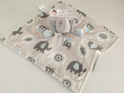 Blankets and Beyond Blue and Grey Elephant Pacifier Holder Baby Security Blanket Plush