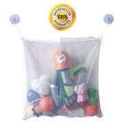 Bath Toy Organiser - The Best Storage Basket For a Super Bath - Great Tub Toy Holder For Baby Boys And Girls - Quick Drying Mesh - High Quality Net Bag - Strong Suction Cups. Bonus - 100% No Hassle.