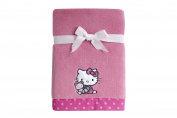 Sanrio Hello Kitty Cute as a Button Coral Fleece Blanket, Pink/White