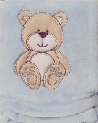 Snugly Baby Embroidered Bear Ultra Soft Blanket ~ Blue