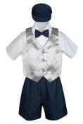 Leadertux 5pc Formal Baby Toddler Boy Silver Vest Navy Blue Shorts Suit Hat S-4T (M: