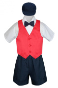 Leadertux 5pc Formal Baby Toddler Boys Red Vest Navy Blue Shorts Suits Hat S-4T (L: