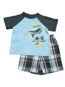 Toughskins Infant & Toddler Boys Jet Squadron Blue T-Shirt Plaid Shorts Set