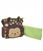 "Babyboom ""Monkey Circles"" Nappy Tote Bag - brown/lime, one size"