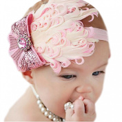 FEITONG(TM) Lovely Ovely Unusal Cotton Girls Baby Pink Feather Hairband Light Bow Headband