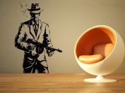 Wall Room Decor Art Vinyl Sticker Mural Decal Gangster Mob Tommy Gun AS2031