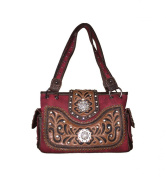 Rhinestone Tooled Flora Embroidery Twin Concho Concealed Carry Leather Handbag Purse in Black, Beige, Hot Pink, Turq and Pink