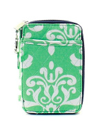 Damask Floral Bloom Print Quilted Mini Wallet Wristlet Green