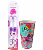 My Little Pony Inspired 3pc Bright Smile Oral Hygiene Set! (1) 2pk My Little Pony Bush Buddies Soft Manual Toothbrush Plus Bonus Matching Mouth Wash Rinse Cup!