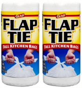 Glad Flap Tie Tall Kitchen Bags, White, 49.2l, 40 Count
