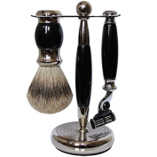 Black/Silver Shaving Set 3pcs shave set by Gold-Dachs