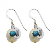 Villanova Wildcats Silver, Colour and Freshwater Pearl Drop Earrings