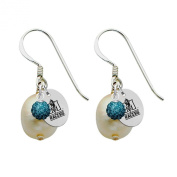 Murray State Racers Silver, Colour and Freshwater Pearl Drop Earrings