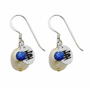 Indiana State Sycamores Silver, Colour and Freshwater Pearl Drop Earrings