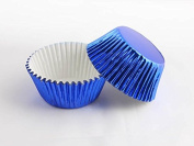100/Pack Muffin Cake Bake Sale Blue Foil Cupcake Baking Liners Grease-Proof Paper