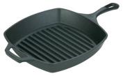 Lodge L8SGP3 Pre-Seasoned Cast-Iron Square Grill Pan, 27cm