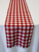 ArtOFabric Red and White Chequered Polyester Table runner 33cm X 180cm .