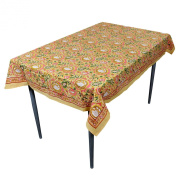 Yellow Floral Rectangular Tablecloth in Cotton Fabric Indian Home Decor 150cm x 100cm