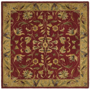 Safavieh Anatolia Collection AN526A Handmade Burgundy and Gold Hand-spun Wool Round Area Rug, 2.4m in Diameter