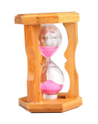 boutique1583 Classic Household Wood Hourglass Sand Timer Clock Hexagonal Table Decoration