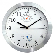 HITO Silent Non-ticking Wall Clock- Metal Frame Glass Cover, 25cm