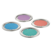 InterDesign Forma Colourful Stainless Steel Coasters, Set of 4, Assorted